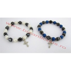 Metanie hematit - cu perle si cruce