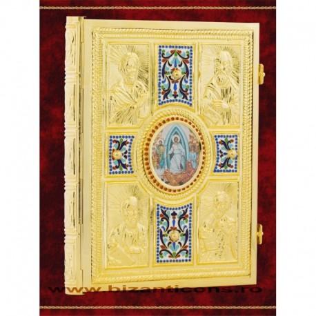 Evanghelie aurita, cu email, medalion icoana.