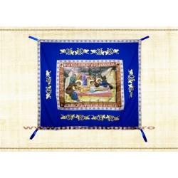 Epitaf Brodat textil - cu icoana printata Punerea in Mormant - ALBASTRU