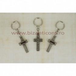 2-20 breloc metal - cruce Pamantul Sfant 12/set