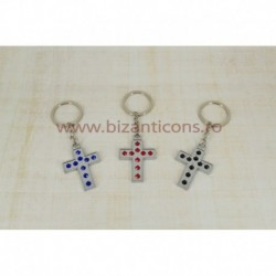 2-48 breloc metal + pietre - cruce 12/set