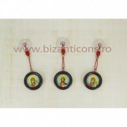Medalion auto - lemn + icoana