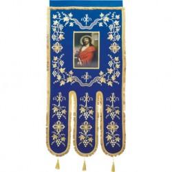 Steag brodat 1 fata - monograma - ALBASTRU