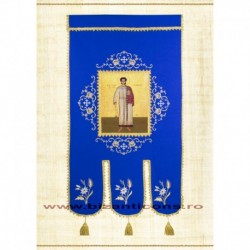 Steag brodat 2 fete - ALBASTRU