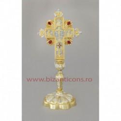Cruce altar - bicolor + pietre - baza fixa