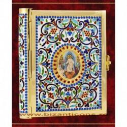 Evanghelie aurita, cu email, medalion icoana - mica