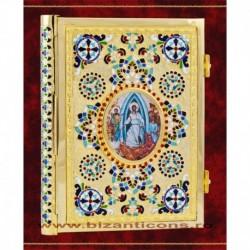 Evanghelie aurita, cu email, medalion icoana - medie