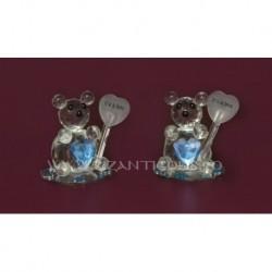 Ornament ursulet + inima cristal