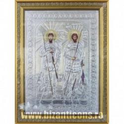 Icoana cu foita argintata - Sfintii Tiron si Stratilat