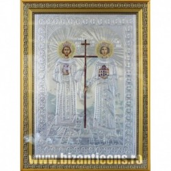 Icoana cu foita argintata - Sfintii Imparati Constantin si Elena