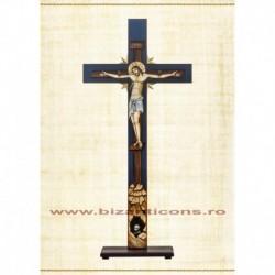 Cruce Altar Lemn Pictat Fond Albastru + Suport