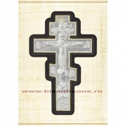 Cruce metal pe suport de lemn