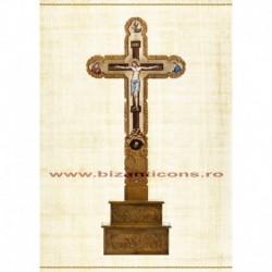 Cruce Altar Lemn Sculptat Pictat + Suport