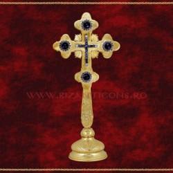 Cruce Binecuvantare Aurita 29 cm + pietre albastre + BAZA detasabila