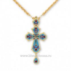 Cruce pectorala aurita - email albastru