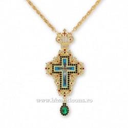 Cruce pectorala aurita - pietre verzi