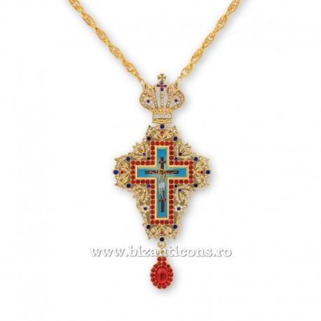 Cruce pectorala aurita - pietre rosii