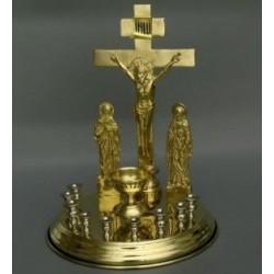CRUCE metal - candela cu 9 sfesnice