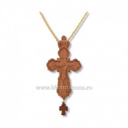 CRUCE STAVROFOR lemn - bizantina - lant auriu