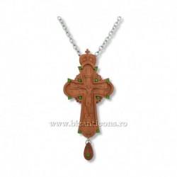 CRUCE STAVROFOR lemn - bizantina - pietre verzi