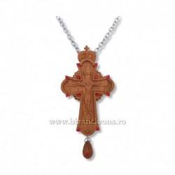 CRUCE STAVROFOR lemn - bizantina - pietre rosii