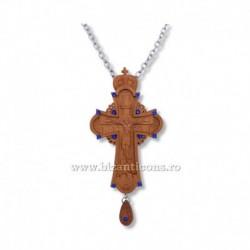 CRUCE STAVROFOR lemn - bizantina - pietre albastre