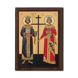Icoana pe lemn - fond auriu 19,5x26,5 - Sf Constantin si Elena