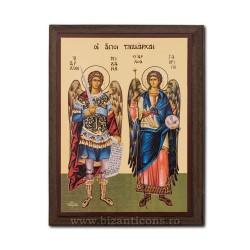 Icoana pe lemn - fond auriu 19,5x26,5 - Sf Mihail si Gvriil
