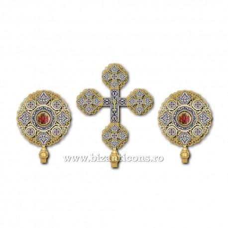 SET 2 Heruvimi + Cruce aurit email cu pietre - X33-265 / 27-139